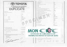 obtenir le certificat de conformité Toyota